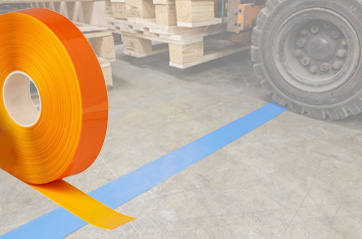 extremely durable floor tape run over by warehouse forklift